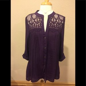 Deep purple button up with lace shoulders